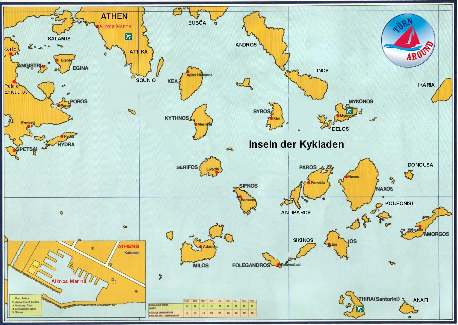 Kykladen Karte.Törn Around Segelrevier